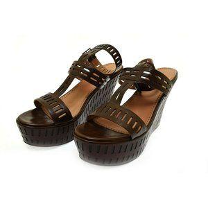 Alaia Women's Platform Wedge Sandals Brown Leather Heels 40 US Size 10 NIB